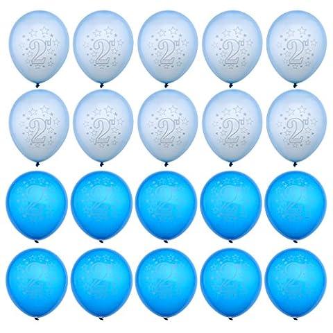 20x Zahl 2 Blau Kinder Geburtstag Ø 28cm Luftballons Geburtstagsdeko