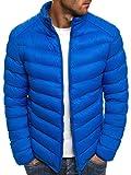 OZONEE Herren Hoodie Funktionsjacke Casual Zip Sportswear Modern Winterjacke Steppjacke Sweatjacke Wärmejacke Jacke Parka Gesteppt J.Style 514K Blau L