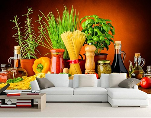 WH-PORP Still-Life Spices Tomatoes Pepper Food 3D tapete,Restaurant Living Room Sofa Tv Wall Bedroom-300cmX210cm