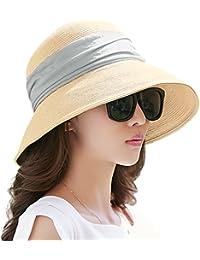 Siggi Womens UPF 50+ Packable Summer Sun Straw Hat Wide Brim Foldable Adjustable