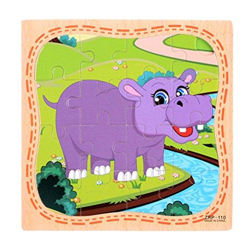 16 Stück Tier Cartoon Puzzles, YooGer frühes Kindheit pädagogisches Puzzle aus Holz (Hippo)