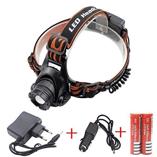 Preisvergleich Produktbild 2000 Lumen CREE XM-L T6 LED Kopflampe Scheinwerfer Taschenlampe Stirnlampe Licht Taschenlampe wiederaufladbare Camping Scheinwerfer (2 x 4200mAh Batterie 18650 + Charger + Car Charger)
