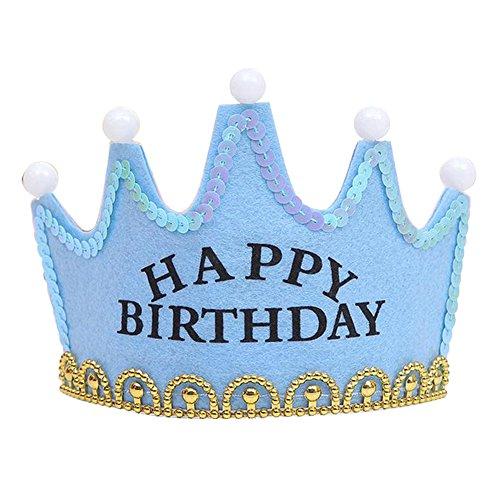 Nicky Blau Happy Birthday Krone mit LED Geburtstag Prinz Prinzessin Haarreif Kopfschmuck Leuchtend Geburtstagsfeier Party Königskrone für Kinder Erwachsene