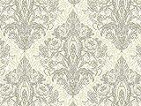 Vorhangstoff Samt Dinastia Ornamente Barock Silber weiß