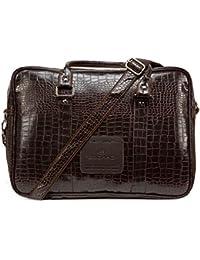 Chris & Kate Croc Textured Brown Faux Leather Messenger Bag    Portfolio Bag    Premium Range Laptop Bags By C...