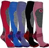 Ski Socks - 4 paires de Chaussettes de ski longues et thermiques haute performance - Femme - Taille 37 - 40...