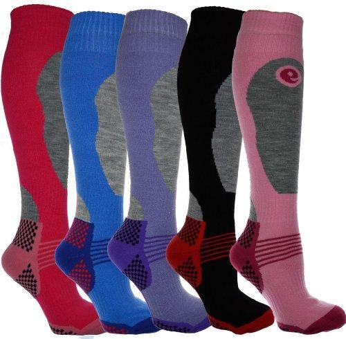 i-Smalls 4er Pack Hohere Leistung Damen Ski Socken Lange Struempfe Thermo Socken