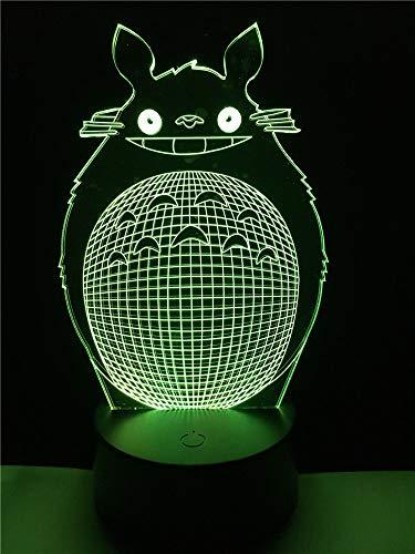 Kinder Tag Cartoon Totoro 3D Usb Led Optische Täuschung Nachtlicht Schlaf Moderne Infantil Lampe De Mesa Kid Augenpflege