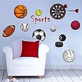 XJKLFJSIU Boy Camera da Letto Muro Adesivi Sport Pallone Soccer Basket Pallavolo Adesivi,102 * 62