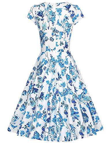 MUXXN 1950s Damen Retro Partykleider Elegant Vintage Swing Kleid QingHua  Bright Blue