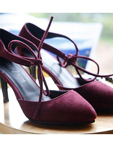 WSS 2016 Chaussures Femme-Décontracté-Noir / Bordeaux-Talon Aiguille-Talons-Chaussures à Talons-Laine synthétique burgundy-us6 / eu36 / uk4 / cn36