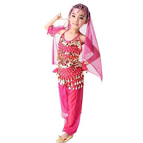 Indian Kinder Girl Kostüm - SymbolLife Girls Kinder Mädchen Bauchtanz Kostüm Set Tanzkleid Kinder Tanzkleidung Karneval Kindertag Kostüme Darbietungen Tanzkostüme, Das Obere + Pluderhosen + Kopftuch Groesse L Rosa