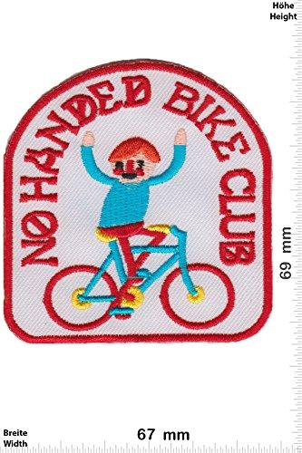 Patch-Iron-No Handed Bike Club - - Fun - Line - Iron On Patches - Aufnäher Embleme Bügelbild Aufbügler -
