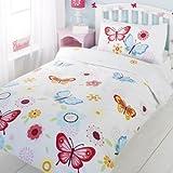 Butterfly Childrens Girls Duvet Cover Quilt Bedding Set - White Pink Yellow B...