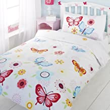 Butterfly Childrens Girls Duvet Cover Quilt Bedding Set - White Pink Yellow B...