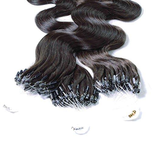 hair2heart 50 x Microring Loop Extensions aus Echthaar, 40cm, 0,5g Strähnen, gewellt - Farbe 1b naturschwarz (Europäische Echthaar Perücke)