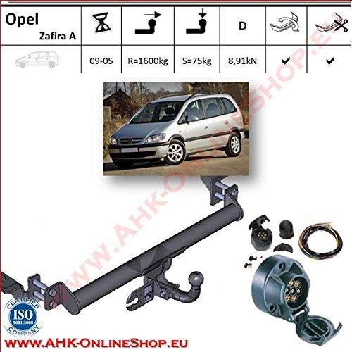 AHK Anhängerkupplung mit Elektrosatz 7 polig für Opel Zafira 1999-2005 Anhängevorrichtung Hängevorrichtung - starr, mit angeschraubtem Kugelkopf