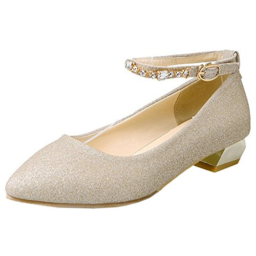 TAOFFEN Damen Gem¨¹tlich Blockabsatz Plateau High Heel Pumps Mit Fesselriemen 472 Gold