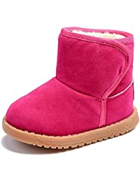 ccc866e2c7eb8 BOZEVON Bébé Filles   Garçons Bottes pour Enfant Chaud Hiver Chaussures  Fourrure Antidérapant Sole Souple Bottines