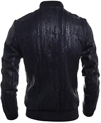 Jeansian L'automne et l'hiver Hommes Faux Cuir Manteaux et Blousons Men's Casual PU Leather Zipper Stand Collar Outwear Jacket Coat Tops 9545 Black