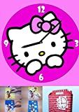 Kinder Wanduhr Hello Kitty zum selber gestalten mit buntem Glitzersand Sandbild Bastel Set Kreativ Set