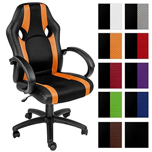 TecTake Sedia da ufficio poltrona direzionale girevole per casa studio sportiva - disponibile in diversi colori - (arancione   no. 402157)