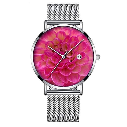 Minimalistische Fashion Quarz-Armbanduhr Elite Ultra Dünn Wasserdicht Sport Uhr mit Datum mit Netzband 038.Rosa zu Weiß Dalia Blume