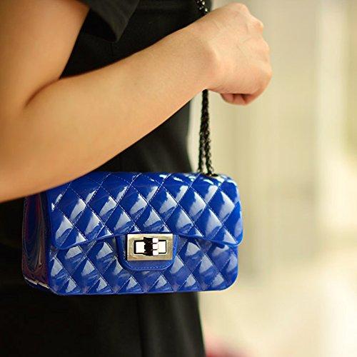 Young & Ming - Mini Jelly diamante Borse Donna Borse a tracolla Shoulder Bag con catena metallica Fashion Handbag Blu persiano