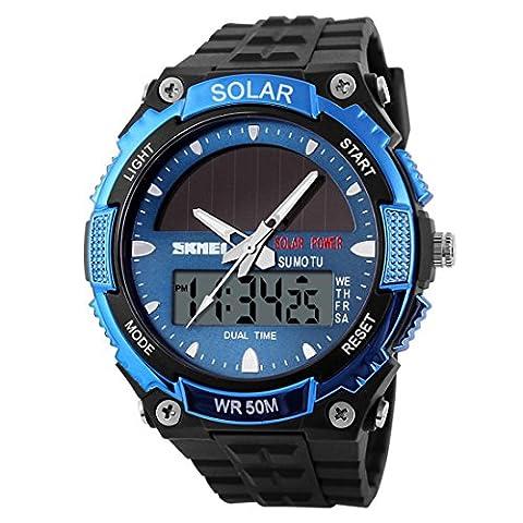 YAHE Des sports Énergie solaire Affichage double fois extérieur LED Movement Men Military Watch, 165 FT résistant à l