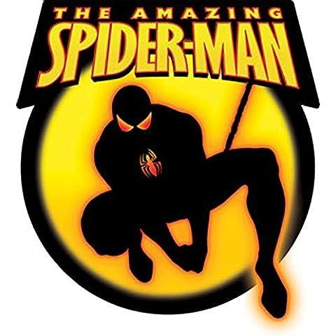 SPIDERMAN Spidey Black negro STICKER,ETIQUETA Officially Oficialmente Licensed Autorizado Marvel Comics Superhero Artwork,ilustraciones 4.75'' x 4.5 - Long Lasting Die-Cut Vinyl Sticker Etiqueta DECAL