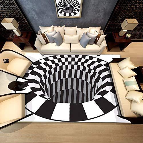 iche Shaggy Fluffy 3D Teppich Esszimmer Wohnzimmer Hauptschlafzimmer Modern Schwarz Und Weiß Bodenmatte Anti-Rutsch-Bereich ()