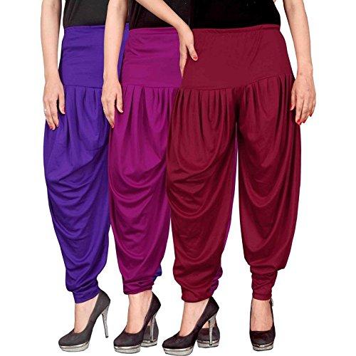 Culture the Dignity Women's Lycra Dhoti Patiala Salwar Harem Pants CTD_00VP1M_1-VIOLET-PURPLE-MAROON-FREESIZE -...