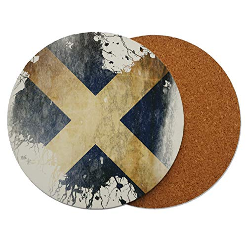 Schottland Scottish Grunge Runder Holz-Untersetzer mit Korkrückseite 95mm x 95mm (Packung mit 4) -