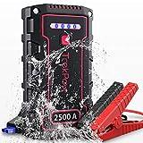 TrekPow TJ2500 Jump Starter 2500A Avviatore Batteria Auto IP68 Booster Avviamento (per Motori 12V Diesel 8L e Benzina 9L), con USB QC 3.0, Torcia LED Power Starter Batteria Portatile per Auto Moto