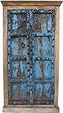 Guru-Shop Schrank, Kleiderschrank, Massivholz, Kolonialstil Indien, Antik-blau, 188x100x45 cm, Schränke & Kleiderschränke