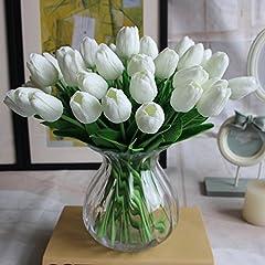 Idea Regalo - Amkun, 10 tulipani finti in poliuretano, realistici, per casa, cucina, salotto, sala da pranzo, matrimonio, decorazione, centrotavola White