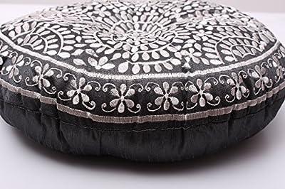 Bodensitzkissen Meditaionskissen Yoga Kissen schwarz mit Blumen bestickt Baumwolle ...