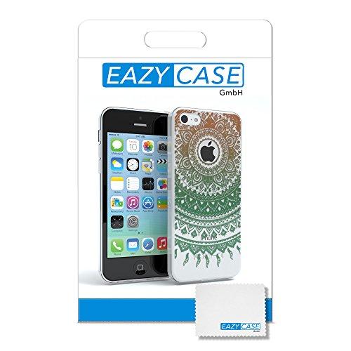 """Apple iPhone 5C Hülle, EAZY CASE Cover """"Henna"""" - Premium Handyhülle mit Indischer Sonne - Transparente Schutzhülle in Weiß / Grün Transparent Gold / Grün"""