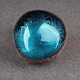 2Pcs Kokosnuss-Schale - 100% natürlich, schön, langlebig, Kokosnussschalen, einzigartige handgefertigte Kokosnuss-Schüssel, Home Desktop Ornamente Dekoration, Candy Küche Decor, blau, Free Size