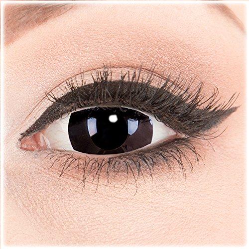 Unheimlich Ein Doll Kostüm - Farbige Mini Sclera Halloween Kontaktlinsen 'Black Out' - 17mm MeralenS Horror Lenses inkl. Behälter - 1Paar (2 Stück)