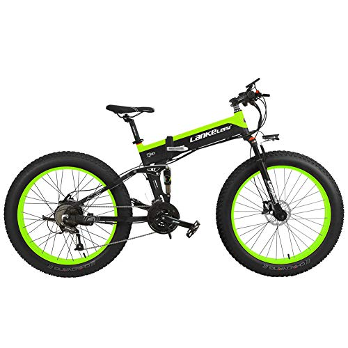 Cyrusher XT750 Plus Electric Bike Mens Bike 27 Speeds Fat Tire Ebike 48V 500w Folding Mountain bike 26inch Bicycle Power Electric Lithium Battery with Disc Brake and Full Suspension Fork