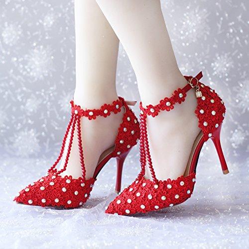 ... High-heels Sandalen / Rote Tanzschuhe 9CM. XIE Hochzeitsschuhe der  Frauen / Brautjungfer und Braut / Perle / Blume / Stiletto-Ferse