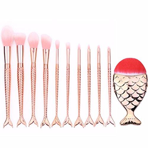 MuSheng(TM) 10pcs sirène beauté cosmétique pinceau de maquillage outils brosses fondation.
