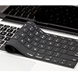 "Kuzy - Solid BLACK Keyboard Cover Silicone Skin for MacBook Pro 13"" 15"" 17"" (with or w/out Retina Display) iMac and MacBook Air 13"" - (USA KEYBOARD VERSION) - Solid Black"