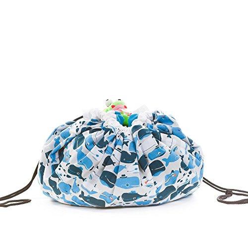 SLEEPAA Spielzeugsack und Spieldecke kinder play Spielzeugbeutel für Aufbewahrung Organizer 140x105 cm Made In Spain (Happy Whales)