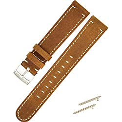 18mm Genuine Leather Brown Watchband,C'est Sports Replacement Wrist Band 18mm Watch Strap for Withings Tracking Watch