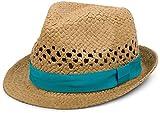 styleBREAKER luftiger Strohhut mit kontrastfarbigem Zierband, Sommerhut, Unisex 04025001, Farbe:Braun / Türkis;Größe:L / XL = 58 cm