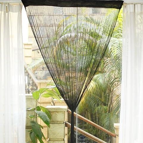 Fenêtre Divider Fringe Tassel rideau suspendu Porte String - Noir