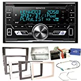 Kenwood DPX-7100DAB Bluetooth USB MP3 Autoradio iPhone iPod Doppel Din AOA 2.0 DAB+ Digitalradio Einbauset für Opel Astra H Corsa D Zafira B Antara, Farbe der Radioblende:Charcoal (Anthrazit)