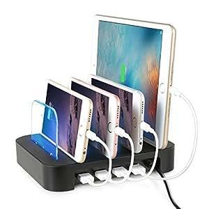 NexGadget Hub USB, Stazione di Ricarica 4 Porte, Organizzatore di dispositivi, Caricabatterie Portatile da Tavolo USB Caricatore per Smartphone e Tablet